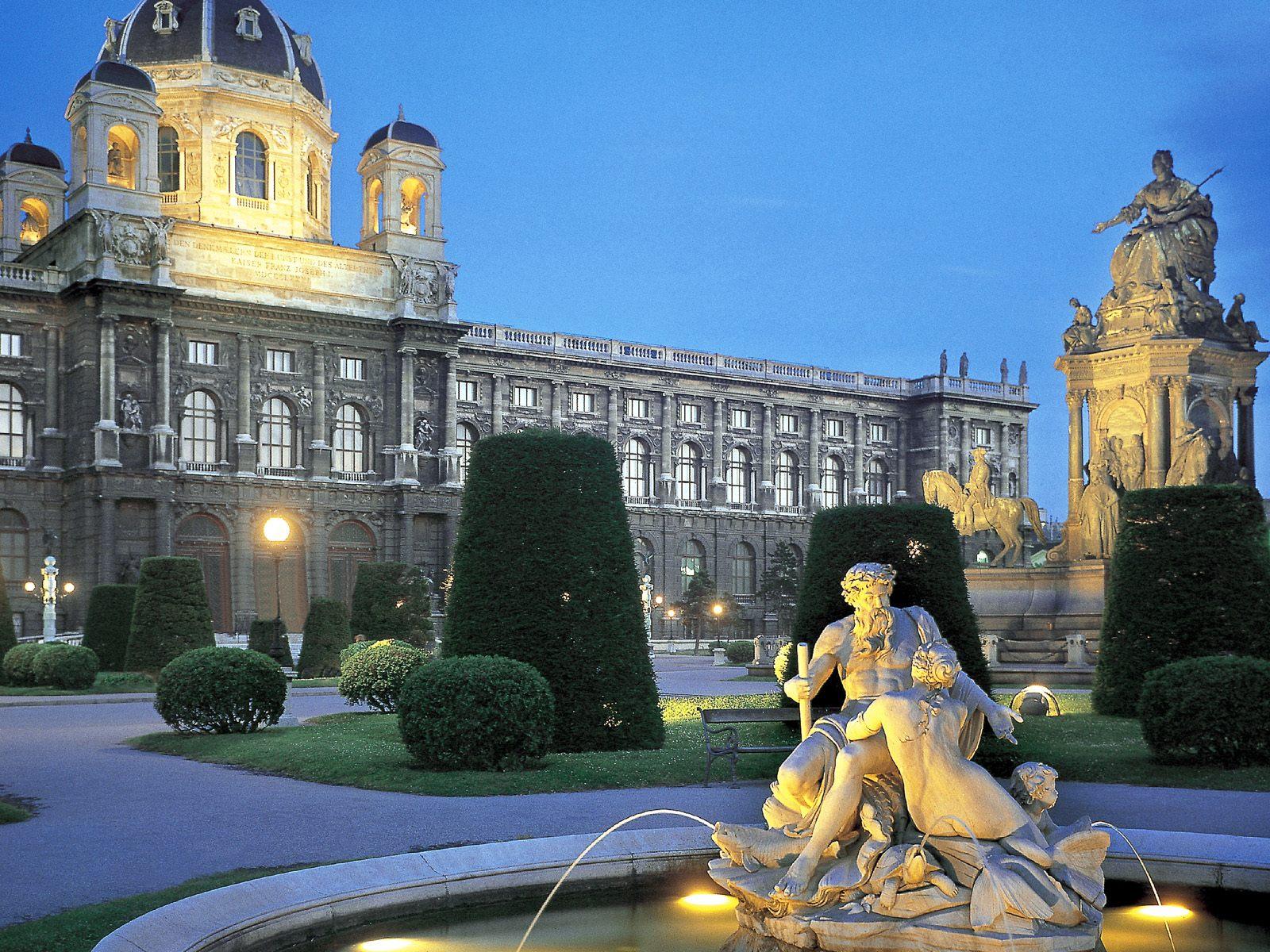 Austrian Garden at Twilight, Vienna Pc Wallpaper