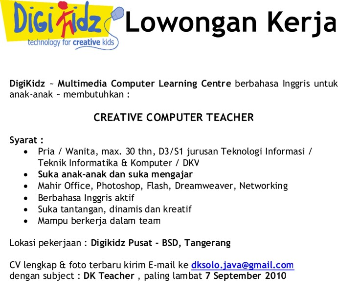Digikidz – Multimedia Computer Learning Centre berbahasa ingris