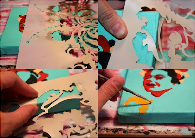 How to make a distressed folk art-style painting. DIY tutorial step 6 via lilblueboo.com