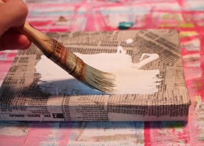 How to make a distressed folk art-style painting. DIY tutorial step 2 via lilblueboo.com