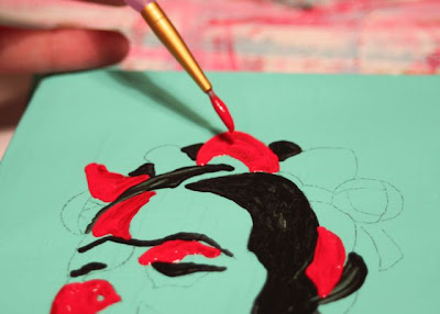 How to make a distressed folk art-style painting. DIY tutorial step 5 via lilblueboo.com