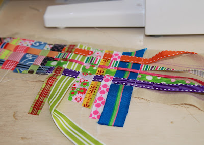 Scrap Ribbon Camera Strap Cover (A Tutorial) step 2 sew &amp; weave ribbon repeat via lilblueboo.com