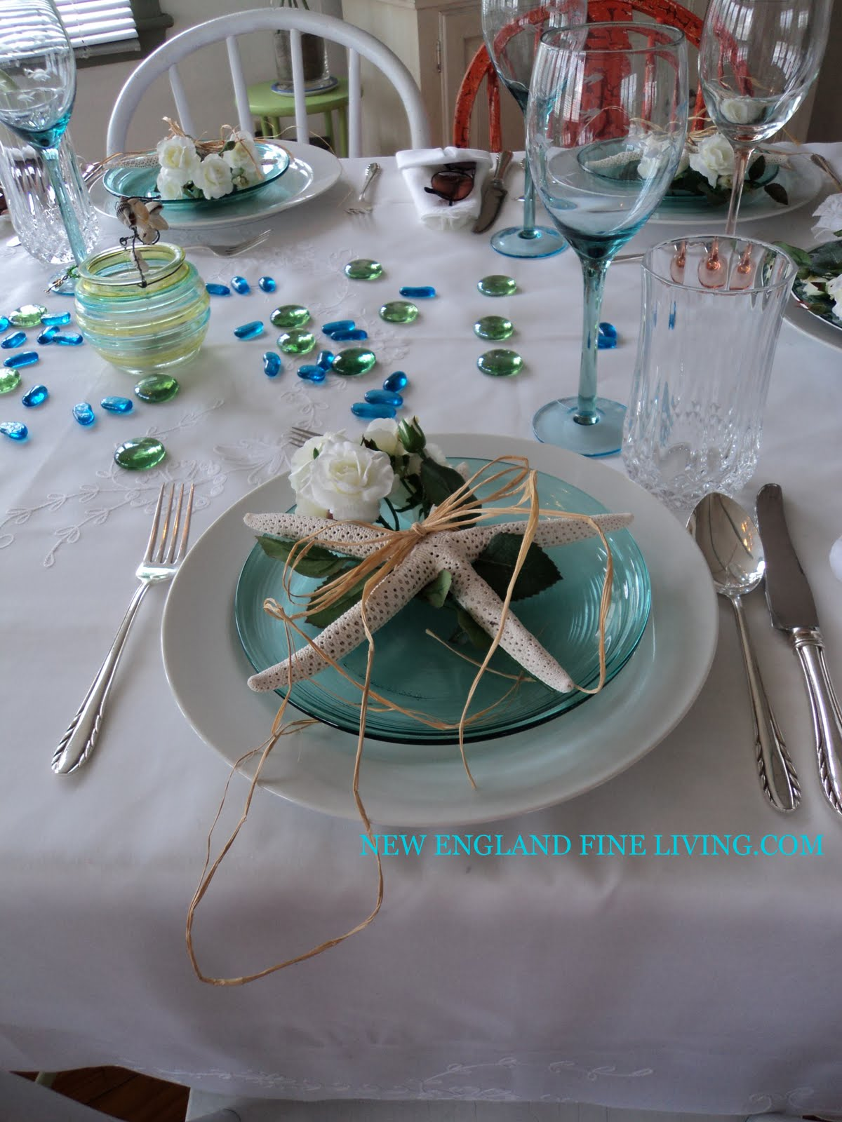 Wedding Table Beach Theme Wedding Table Decorations similiar beach themed banquet table keywords after cutting some of the roses off stem i tied them to the