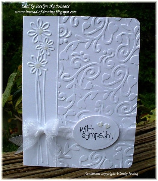 Sympathy card using Cuttlebug and Sizzix embossing folders