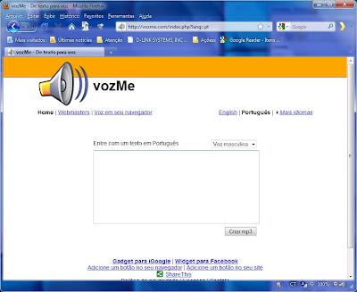 Imagem do VozMe no Firefox.