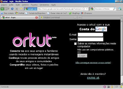 Firefox mostrando a página do orkut em alto contraste.