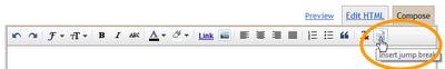 Кнопка «читать далее» встроена в Blogger.