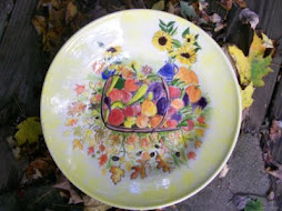 pottery platter --fall in garden