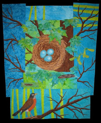 spring red breasted robin quilt quilting