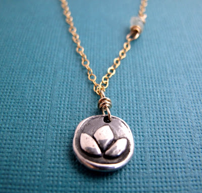 silver gold lotus charm yoga inspired jewelry
