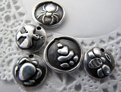 silver turtle Buddha dove spider bee charms