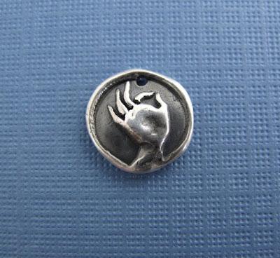gyan mudra hand silver charm