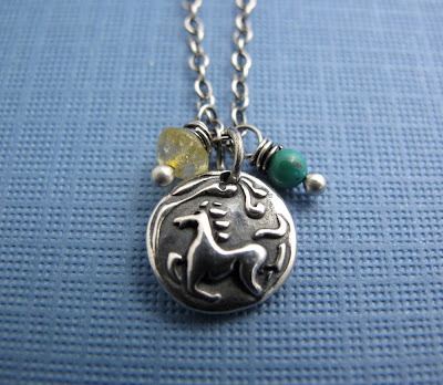 silver wind horse personalized charm necklace
