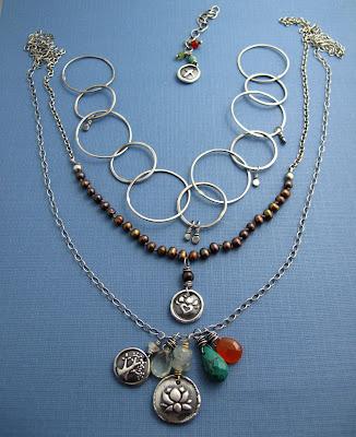 silver lotus tree heart charm pendant neckalce