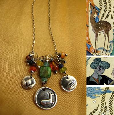 silver deer leaf charm necklace