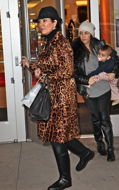 Kourney Kardashian with Mason and Kris Jenner in Canoga Park