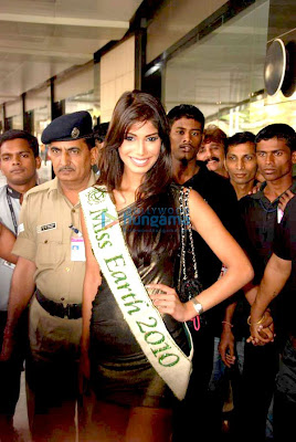Nicole Faria arrives at airport after Winning Miss Earth 2010