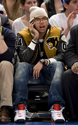 Chris Brown at the NY Knicks Game
