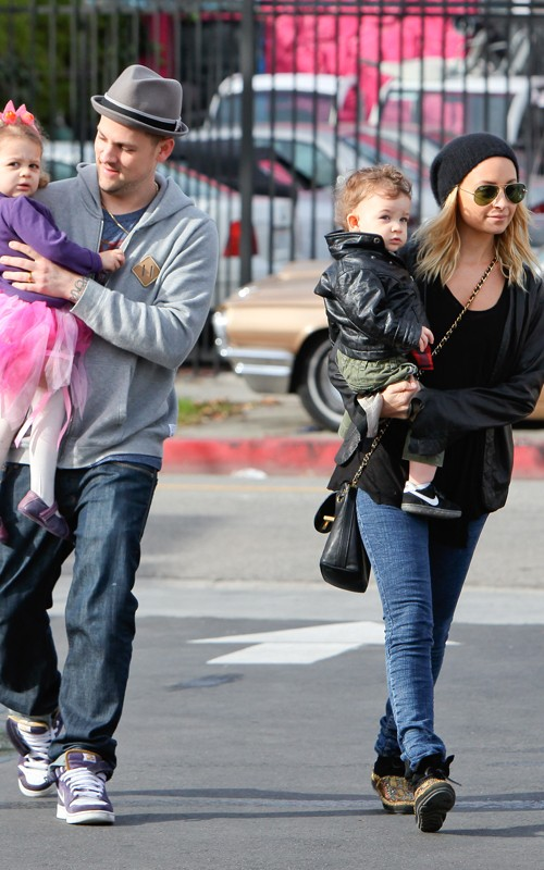 Nicole Richie and Joel Madden out with Harlow and Sparrow in Hollywood