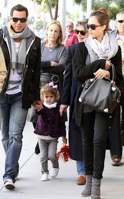 Jessica Alba, her husband Cash Warren and daughter Honor out for lunch at Jack N' Jill's in Beverly Hills
