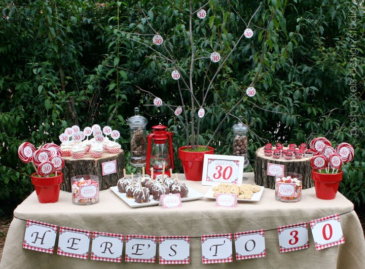 Cake creative co real parties a rustic red 30th birthday for 30th birthday decoration ideas for her