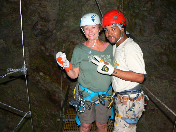In Belize -- just after a 40 foot vertical descent....