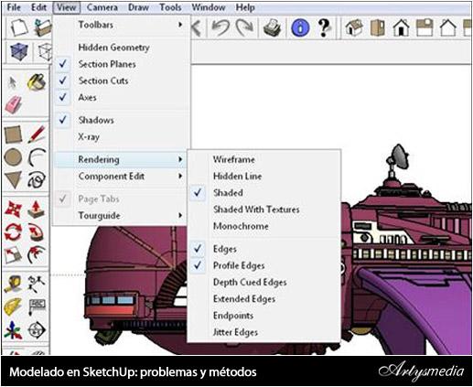 Modelado en SketchUp: problemas y métodos para crear una nave espacial (Ruso)