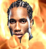 Didier Drogba in flames