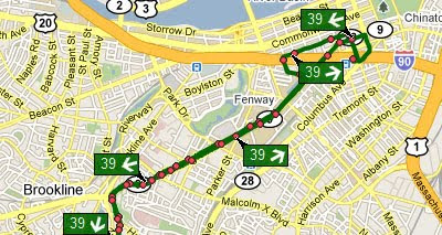 Maps Mania: Google Map Tracking Boston Buses on