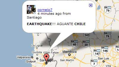 Maps mania maps of the chile earthquake updated mibazaar has put together this real time twitter map showing the latest messages about the chile earthquake currently the map is displaying tweets from gumiabroncs Images