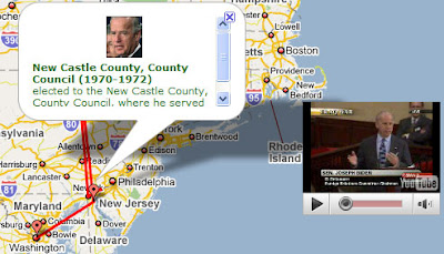 screens shot of Biden's life journey map