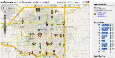 Maps Mania Chewing The Fat On Google Maps - Us map of fast food restaurants