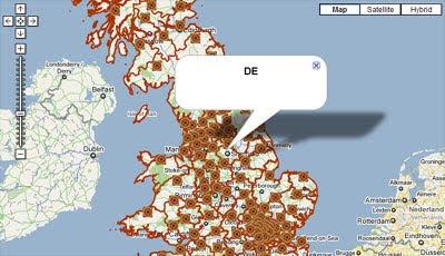 uk postcodes on google maps
