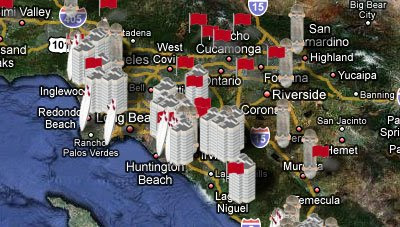 5ones screenshot showing map markers on a Google Map