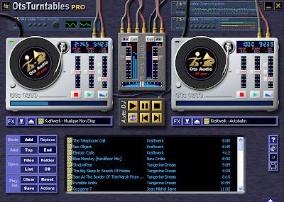 Interfaz gráfica de usuario del programa Ots Turntables, se aprecian platos y mesa de DJ