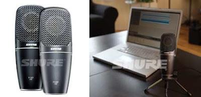 Dos imagenes del micrófono plegable de Shure, una plegado y otra sin plegar