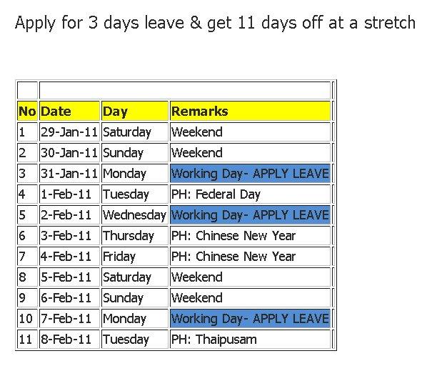 Cogito ergo scribo: Public holidays 2011