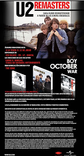 Nota de prensa de las remasterizaciones de U2, Boy, October, War