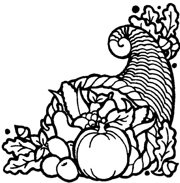 Color Thanksgiving Cornucopia Coloring Page