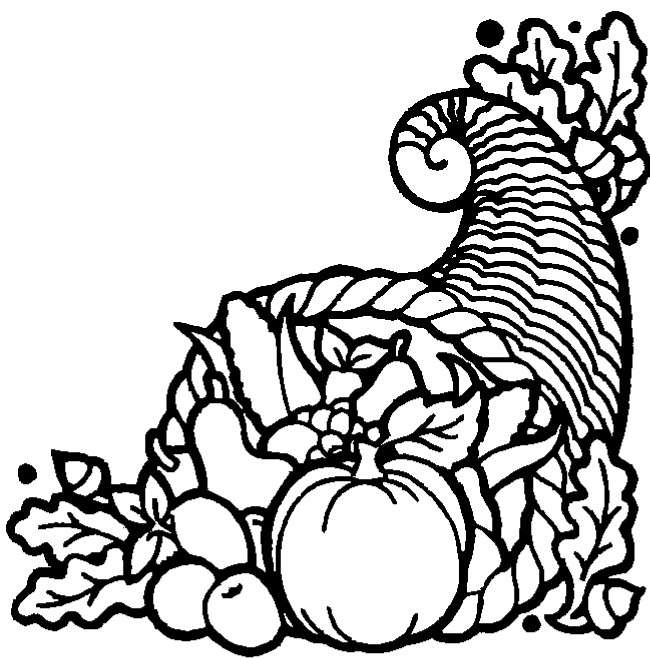 Thanksgiving Cornucopia Coloring Pages title=