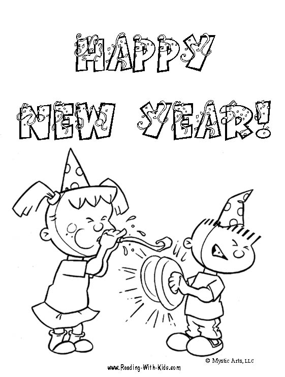 happy new year kids coloring pages title=