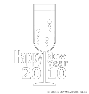 New Year Champagne Coloring Pages