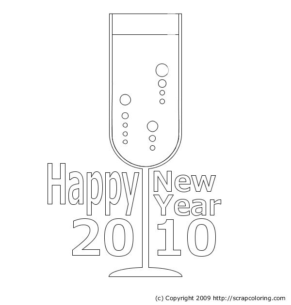 New Year Champagne Coloring Pages title=