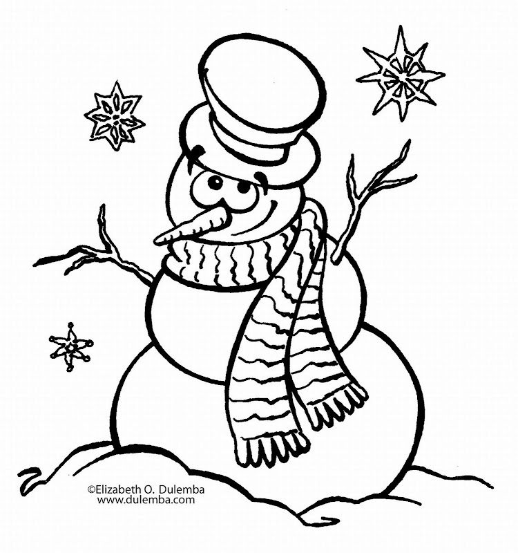New Year Snowman Coloring Pages, New Year Snowman Printables title=