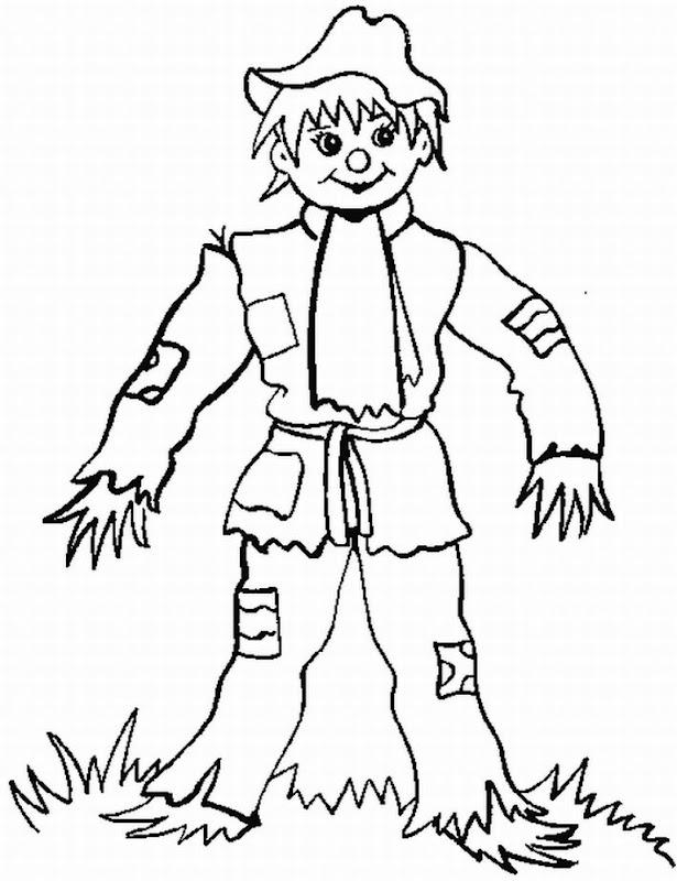 Thanksgiving Scarecrow Coloring Pages, Pumpkin Face Scarecrow title=