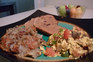 Tofu Scramble, Cinnamon Rasin Bread, and Hash Browns