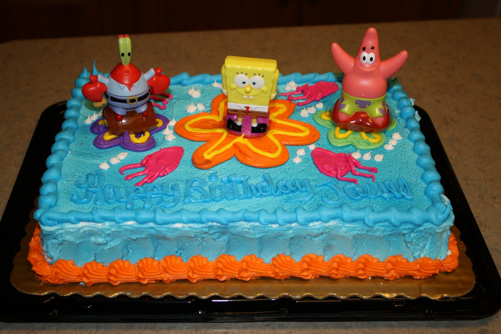 The bowling family james 4th birthday after changing his mind several times james decided on a spongebob cake for his birthday he also thought jesus would like a spongebob cake at christmas thecheapjerseys Images