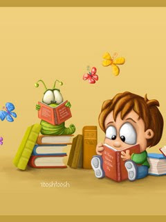 gambar budak comel tengah baca buku