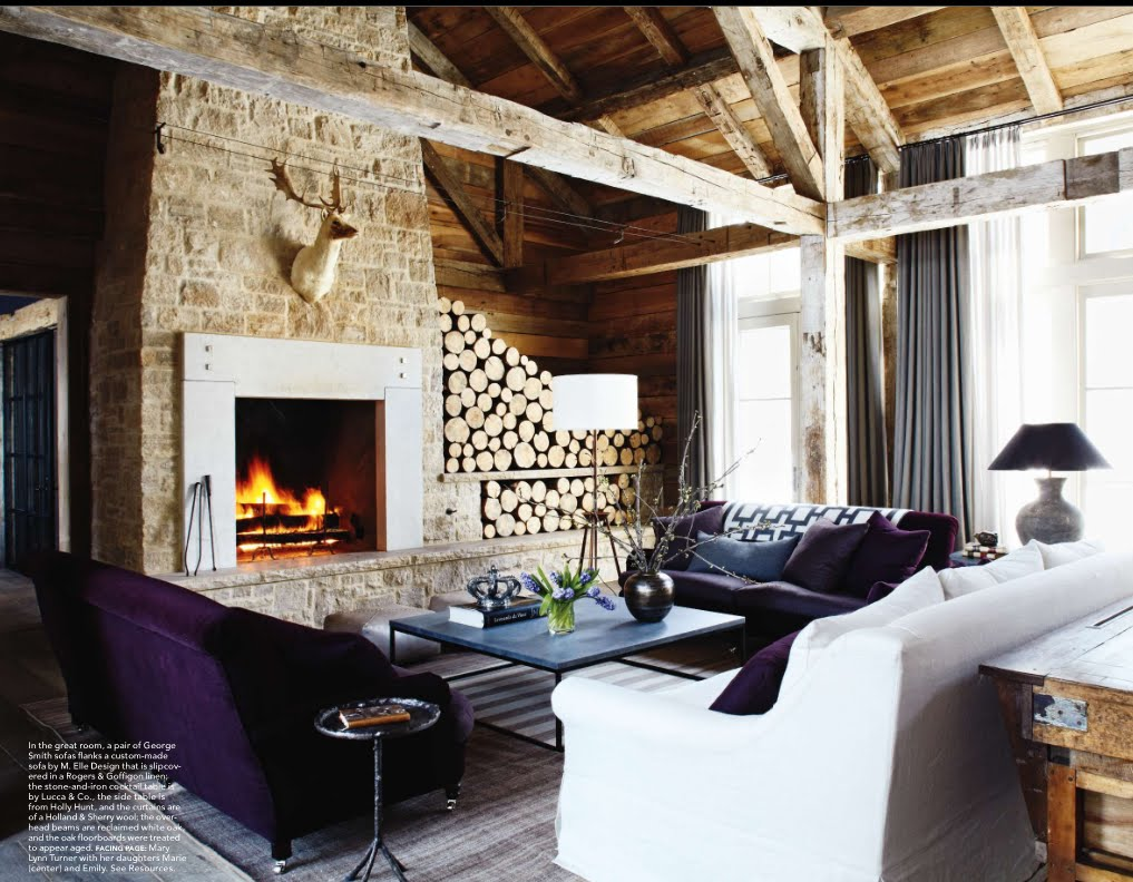 Delight by design lovely log storage - Rustic chic living room ...