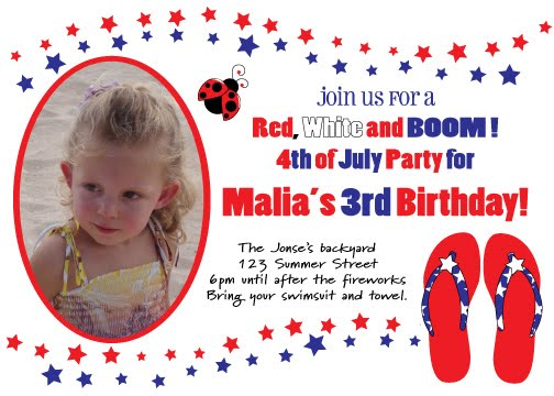4th of july birthday invitation pool party family reunion